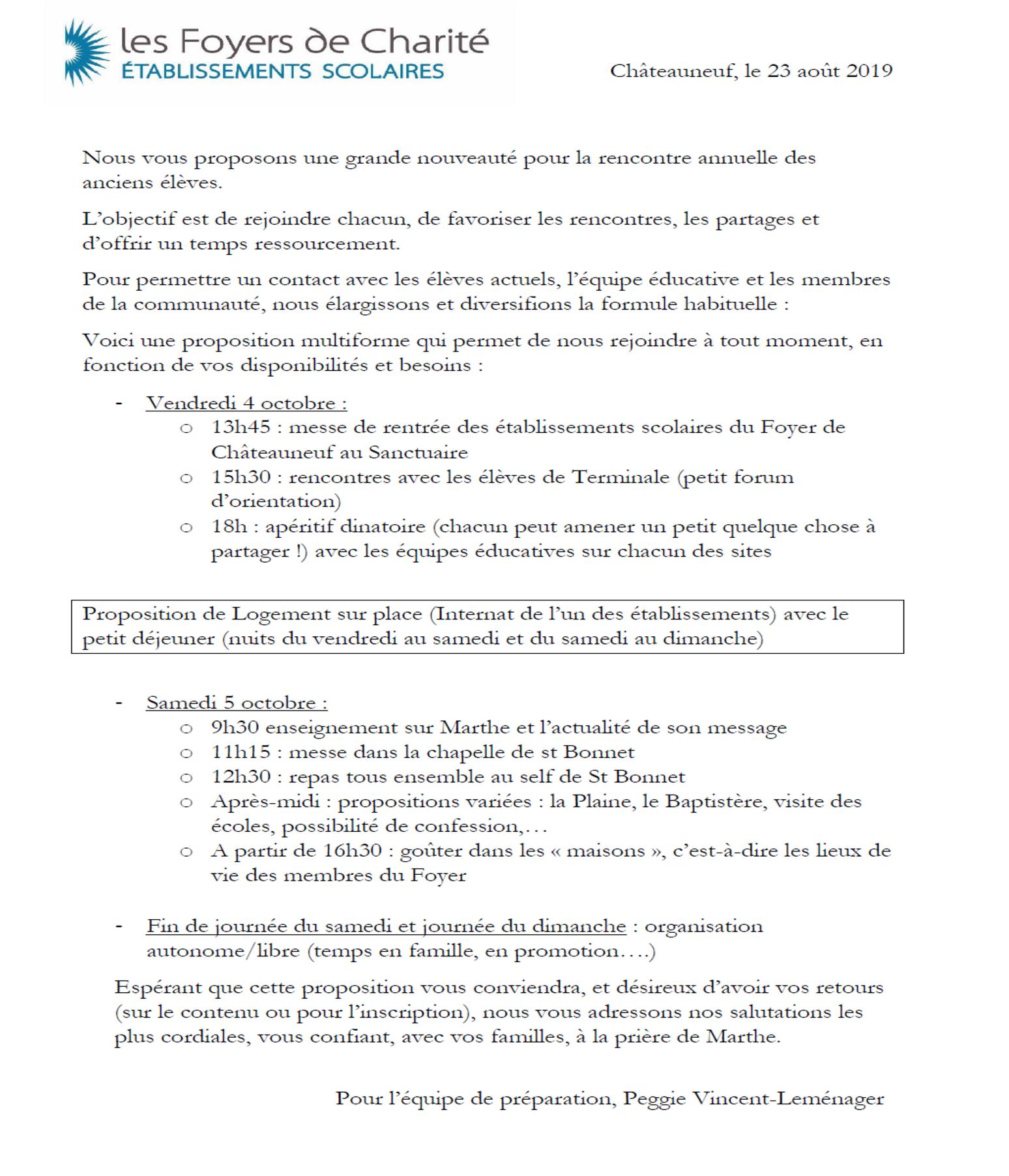 Programme Réunion des Anciennes